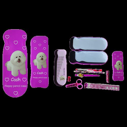 Κασετίνα διπλή με σκυλάκι γεμάτη